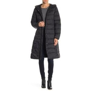 Cole Haan Signature Puffer Coat M Hooded Belted
